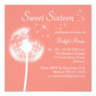 Best Wishes! in Coral Sweet Sixteen Invitation