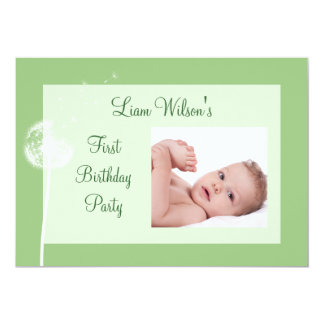 Best Wishes! Photo Birthday Party Invite(green) Card