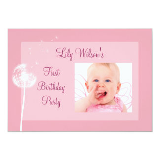 Best Wishes!!! Photo Birthday Party Invite (pink)