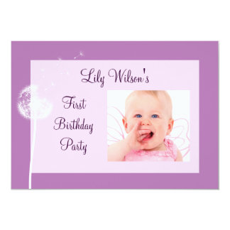 Best Wishes! Photo Birthday Party Invite(purple) Card