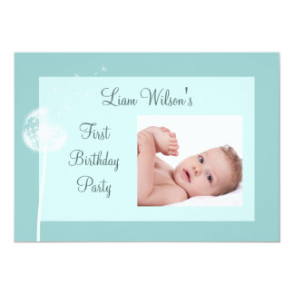 Best Wishes! Photo Birthday Party Invite-turquoise Card