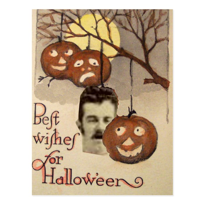Best wishes Pumpkin Decapitated Head Full Moon Postcard
