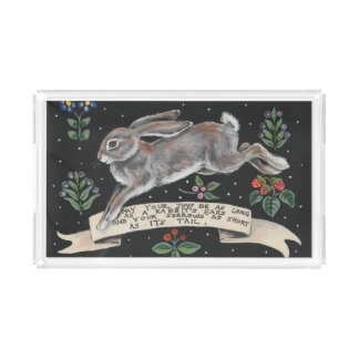 Best Wishes Rabbit Hare Acrylic Serving Tray Black