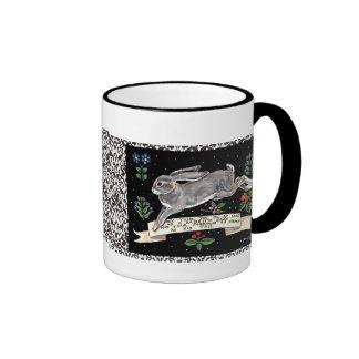 Best-Wishes Rabbit Mug, Running Hare with Flowers