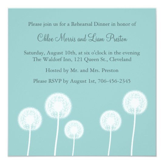 Best Wishes! Rehearsal Dinner Invite (turquoise)