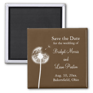 Best Wishes! Save the Date (brown) 2 Inch Square Magnet