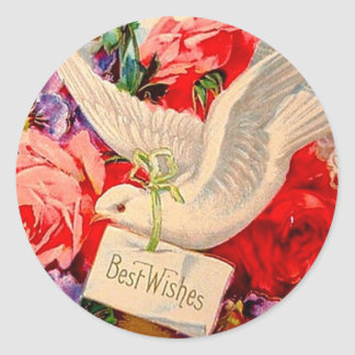 Best Wishes Victorian Dove Roses Gift Vintage Art Classic Round Sticker