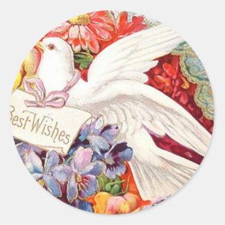 Best Wishes Victorian Dove Wedding Birthday Classic Round Sticker