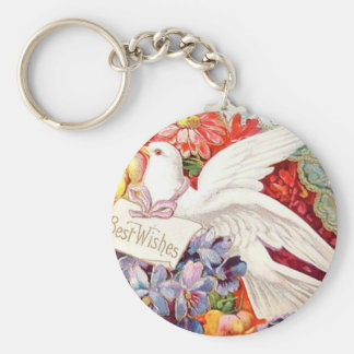 Best Wishes Victorian Dove Wedding Birthday Keychain