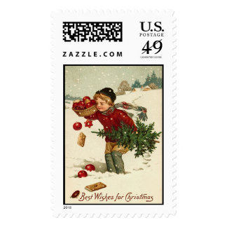 Best Wishes Vintage Christmas Stamps