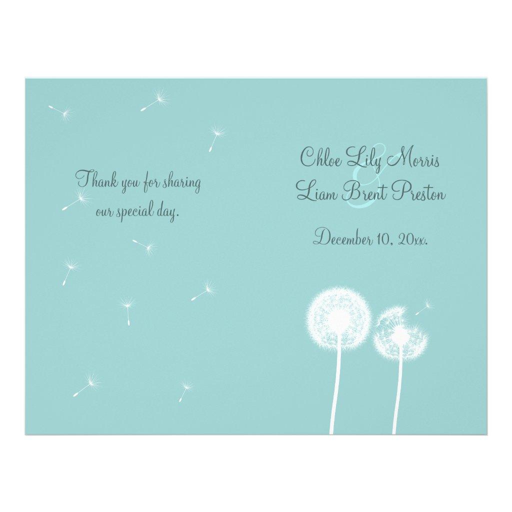 Best Wishes Wedding Program (turquoise) 25 flyers.