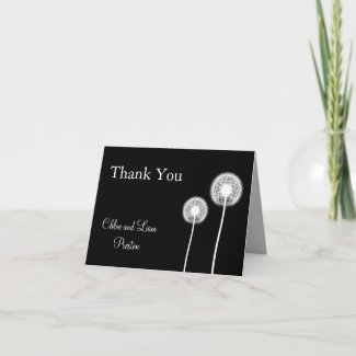 Best Wishes! Wedding Thank You Card (black) card