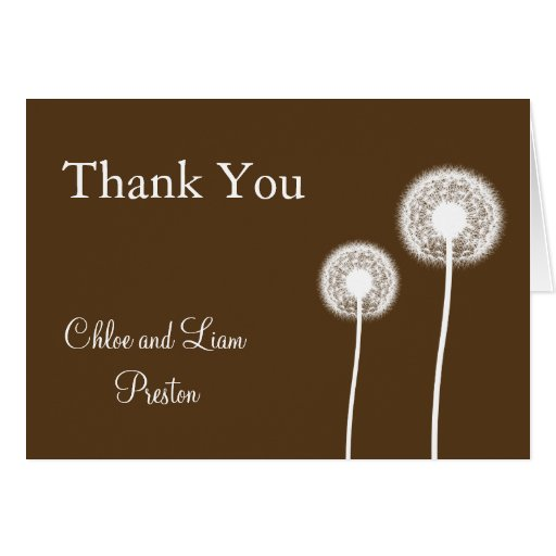 Best Wishes! Wedding Thank You Card (brown)