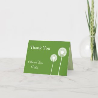 Best Wishes! Wedding Thank You Card (green) card