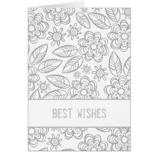 """best wishes"" white & gray flowers pattern cards"