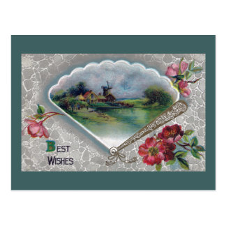Best Wishes with Crabapple Blossoms and Fan Postcard