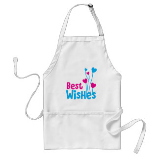 BEST WISHES with love heart balloons Adult Apron