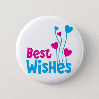 BEST WISHES with love heart balloons Pinback Button