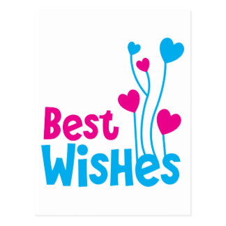BEST WISHES with love heart balloons Postcard