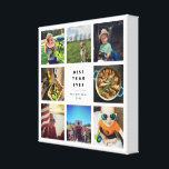 """Best Year Ever Instagram Photo Collage Canvas Print<br><div class=""""desc"""">Ideal for showing off your favorite Instagram shots,  this photo collage canvas features space for 8 square photos,  with &quot;Best Year Ever&quot; in the center in bold,  modern black lettering. Personalize with your name(s) and the year for a perfect way to commemorate a special year!</div>"""