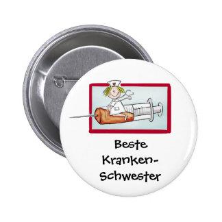 Beste Krankenschwester - Humorous Cartoon Nurse Button
