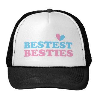 BESTEST BESTIES with cute hearts BFF best friends Mesh Hat