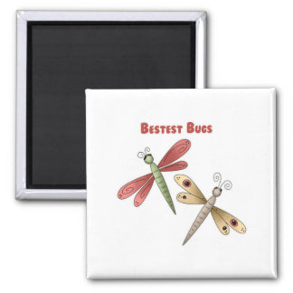 Bestest Bugs (dragonflies) 2 Inch Square Magnet