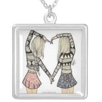 bestfriends square pendant necklace