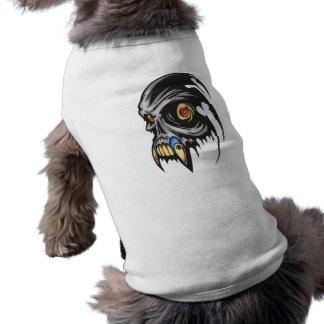 Bestia cibernética melenuda del cráneo playera sin mangas para perro