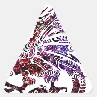 Bestia coloreada pegatina triangular