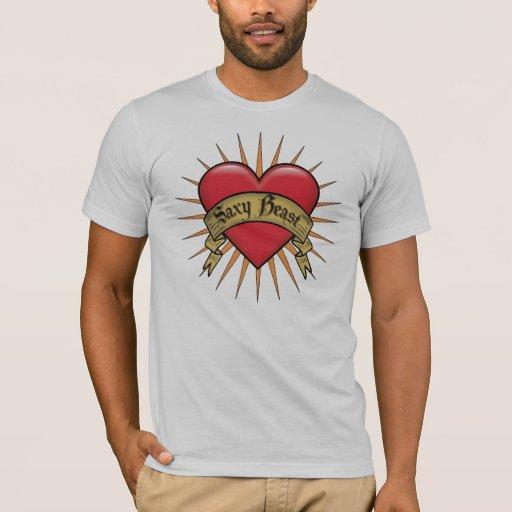 Bestia de Saxy del corazón del tatuaje Playera