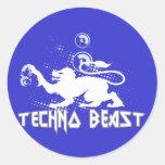 Bestia de Techno Etiquetas Redondas