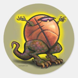 Bestia del baloncesto etiqueta redonda