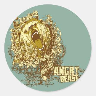 bestia enojada del oso psicodélico pegatina redonda