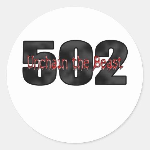 Bestia grande 502 del bloque pegatina redonda