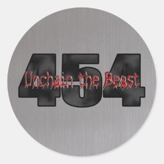 Bestia grande del bloque de Chevy 454 Pegatina Redonda