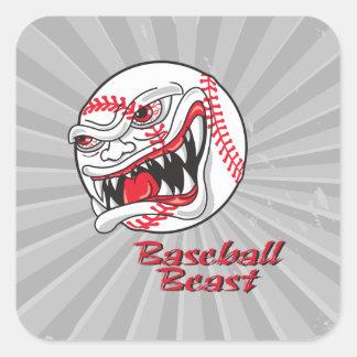 bestia mala enojada del vaseball del béisbol pegatina cuadrada