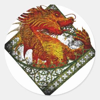 Bestia Oriental de la fantasía del dragón de Pegatina Redonda