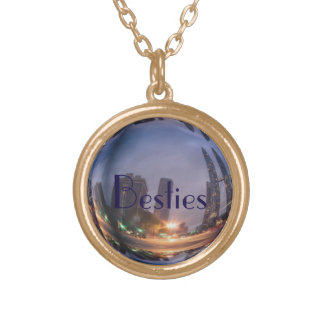 Besties 3D image Gold Finish Round Necklace