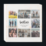 "Besties Best Friend Quote Photo Collage Wooden Box Sign<br><div class=""desc"">Makes a beautiful personalized decor piece for your room or give to one of your best friends as a gift. This ""besties"" design photo collage sign is personalized with eight of your favorite friend photos and a friendship quote.</div>"