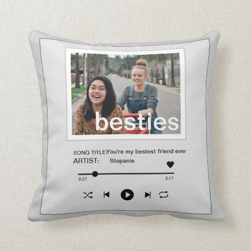 Besties bestfriend music player funny photo throw pillow