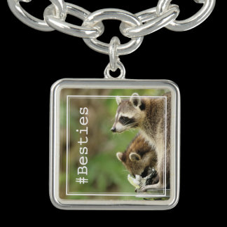Besties Friends & Blessings Raccoons Personalized Charm Bracelet