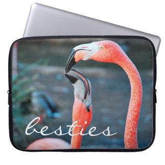 """Besties"" hot pink flamingos photo laptop sleeve"