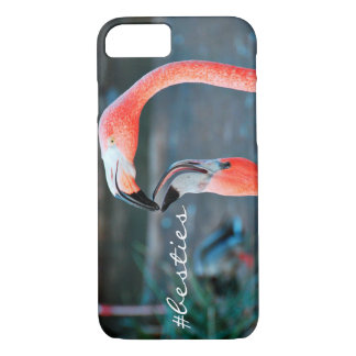 """""""# Besties"""" pink flamingos photo cell phone case"""