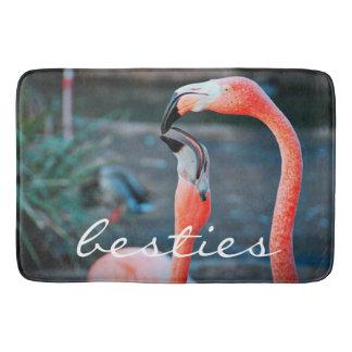 """Besties"" quote pink flamingos photo bath mat"