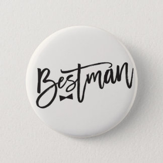 Bestman Brush Bow Tie Wedding Bridal Party Button