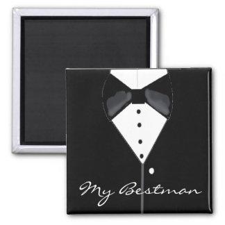 Bestman Wedding Tuxedo 2 Inch Square Magnet
