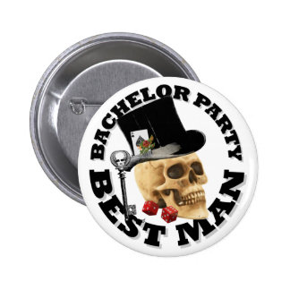 Bestmans Gothic gambling skull bachelor party Button