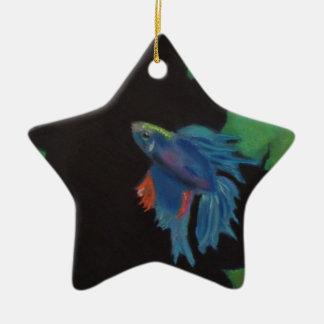 beta fish ceramic ornament
