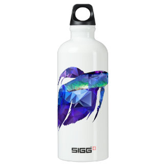 Beta Fish for Polygon Mosaic Blue Aluminum Water Bottle
